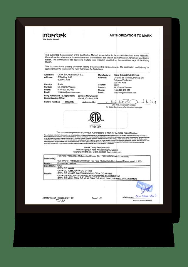 ULC ORD C1703 ONYXSOLAR